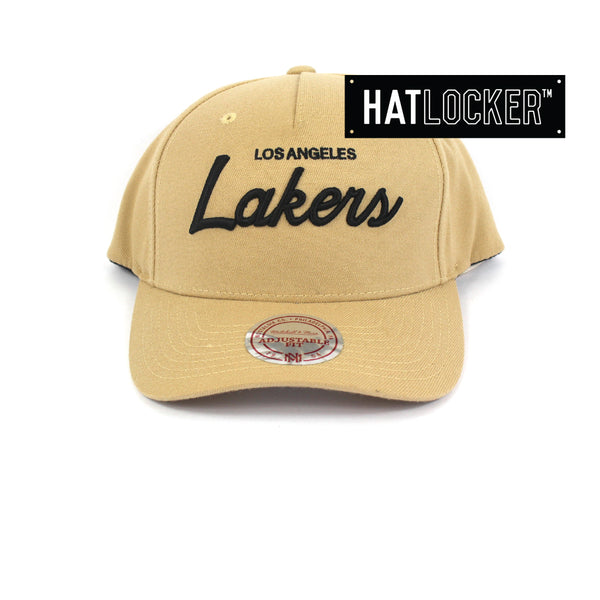 Mitchell And Ness Los Angeles Lakers Classic Script Curved Snapback Hat