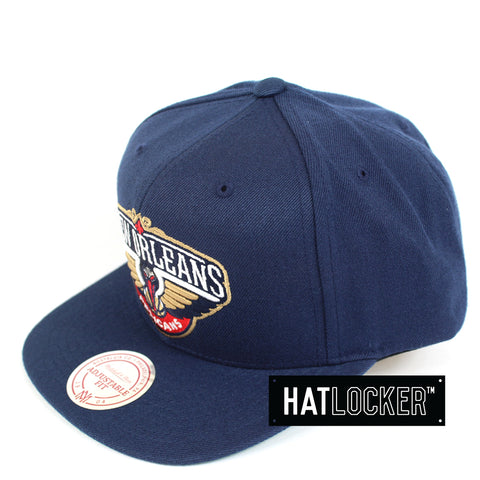 Mitchell And Ness New Orleans Pelicans Wool Solid Navy Snapback Hat