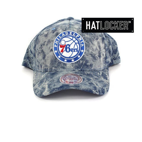 Mitchell And Ness Philadelphia 76ers Acid Denim Curved Snapback Cap