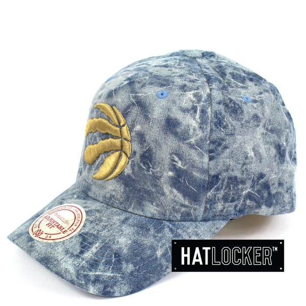 Mitchell And Ness Toronto Raptors Acid Denim Curved Snapback Hat