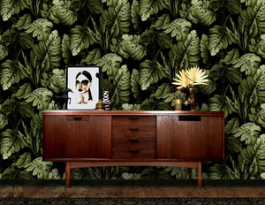 Hot House Wallpaper in Black Green