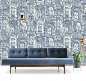 The Doors Wallpaper in China Blue