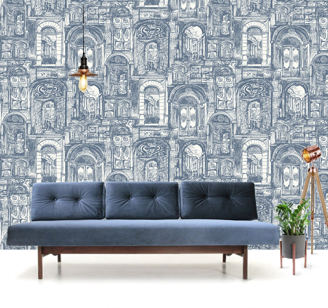 The Doors Wallpaper in China Blue - Sample