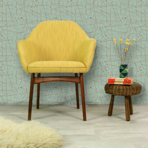 Mid-Century Artist Wallpaper in Eau De Nil