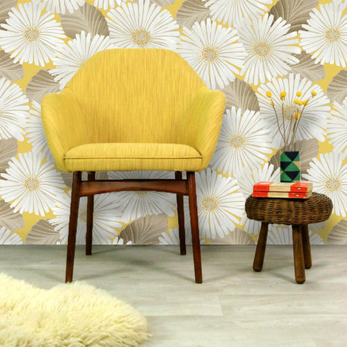 Bloom Wallpaper in Mimosa Yellow