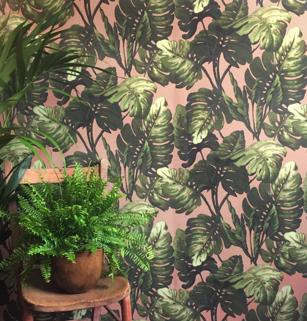 Hot House Wallpaper in Blush Green