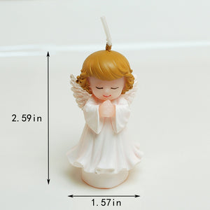 Praying Baby Angel Candle - Silver