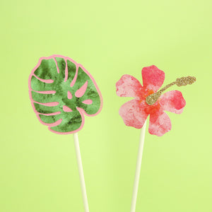 Palm Leaf & Flower Cake Topper