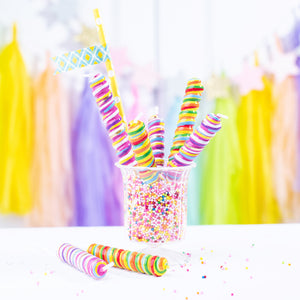 Colorful Lollipop Candy Cake Topper Candle for Brithday Party
