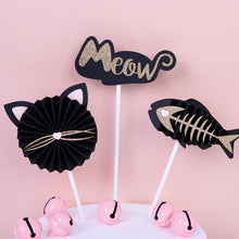 Load image into Gallery viewer, Cat Theme Cake Topper - Black & Silver