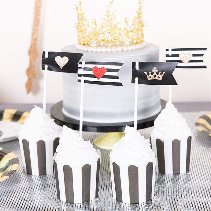 B&W Mini Cake Topper