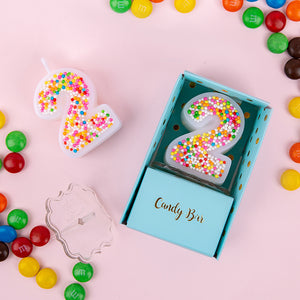 Candy Sprinkles Number 0-9 Birthday Candle