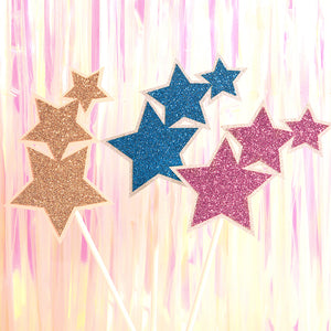 Stars Cake Topper Cupcake Topper, Birthday Cake Supplies Decorations
