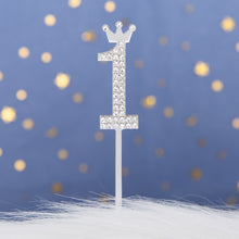 Load image into Gallery viewer, Rhinestone Number 0-9 Cake Topper