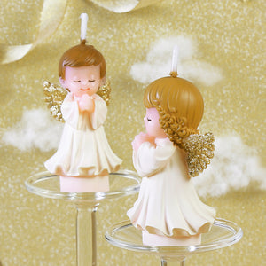Praying Baby Angel Candle - Gold