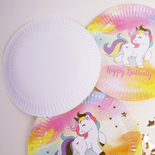 Load image into Gallery viewer, Unicorn Birthday Party Tableware Set