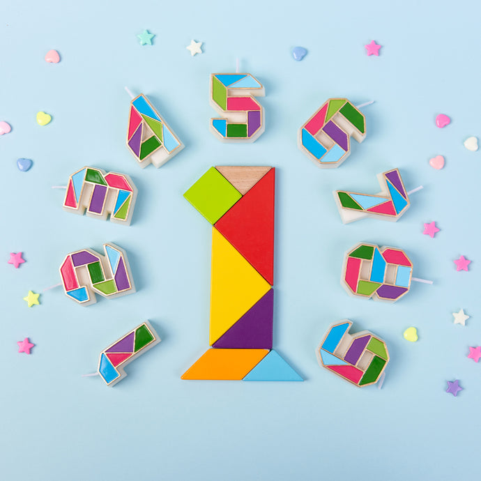 Tangram Number 0-9 Birthday Candle