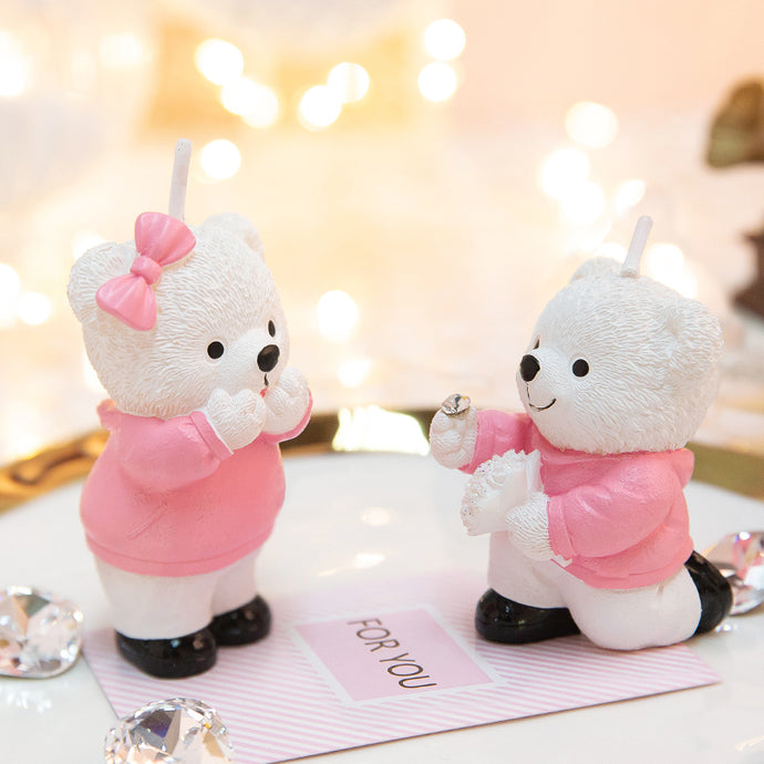 Coming Soon  Proposal Bear Wedding Cake Candles