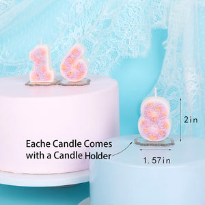 Roses Number 0-9 Birthday Candle
