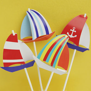 Cake topper Sailboat colour
