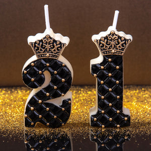 Royal Black Number 0-9 Birthday Candle