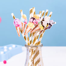 Load image into Gallery viewer, Ice Cream Theme Paper Straws