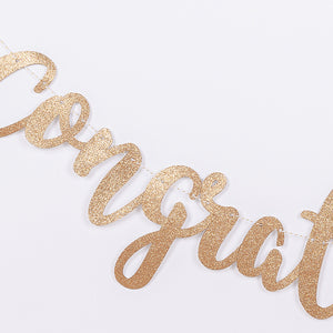 iLikePar Golden Glittery 'Congratulations' Party Banner