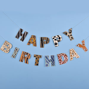 'Happy Birthday'  Animal Prints Party Banner