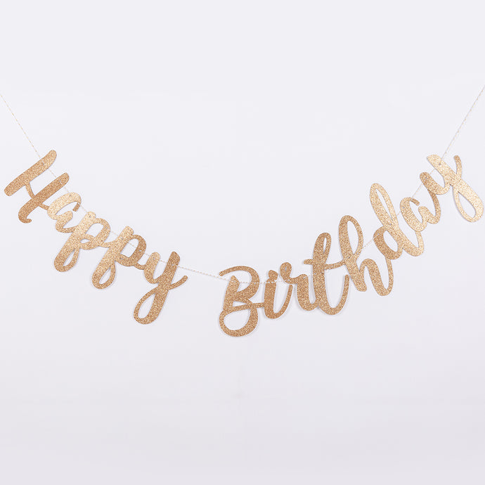 Golden Glittery 'Happy Birthday' Pull Flags