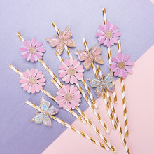 Load image into Gallery viewer, iLikePar Butterfly & Flower Theme Paper Straws