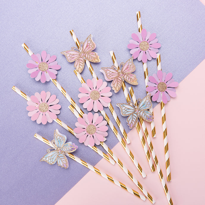 Butterfly & Flower Theme Paper Straws