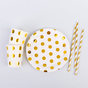 Golden Dots Party Supplies Set-Includes 10 Plates, 10 Cups,10 Straws