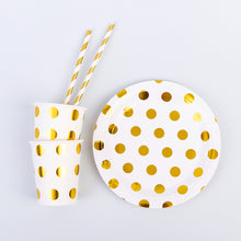 Load image into Gallery viewer, Golden Dots Party Supplies Set-Includes 10 Plates, 10 Cups,10 Straws
