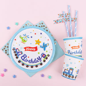 Train Party Supplies Set-Includes 10 Plates, 10 Cups,10 Straws,20 Napkins