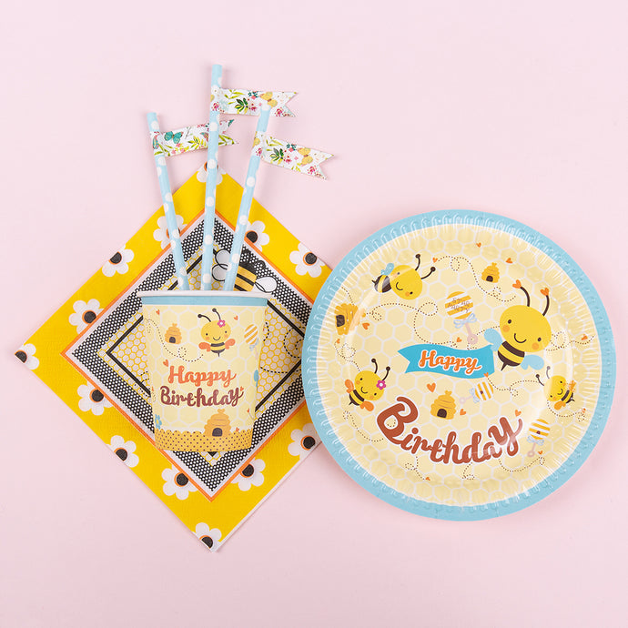 iLikePar Baby Bee Birthday Party Tableware Set