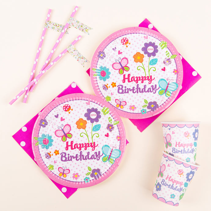 iLikePar Floral Birthday Party Tableware
