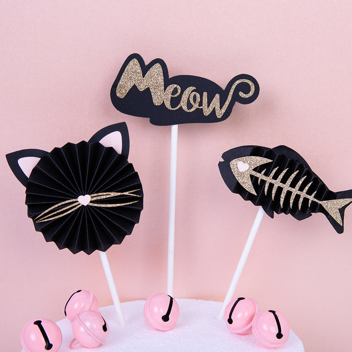 iLikePar Cat Theme Cake Topper - Black & Gold