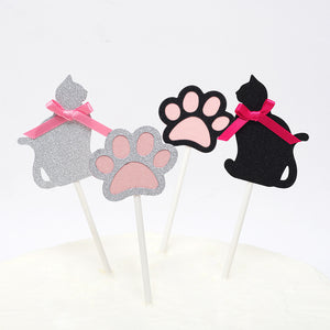 iLikePar Cat Theme Cake Topper - Black & Silver