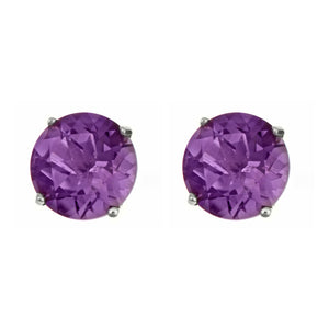 soEnvy Sterling Silver Stud Earrings Amethyst