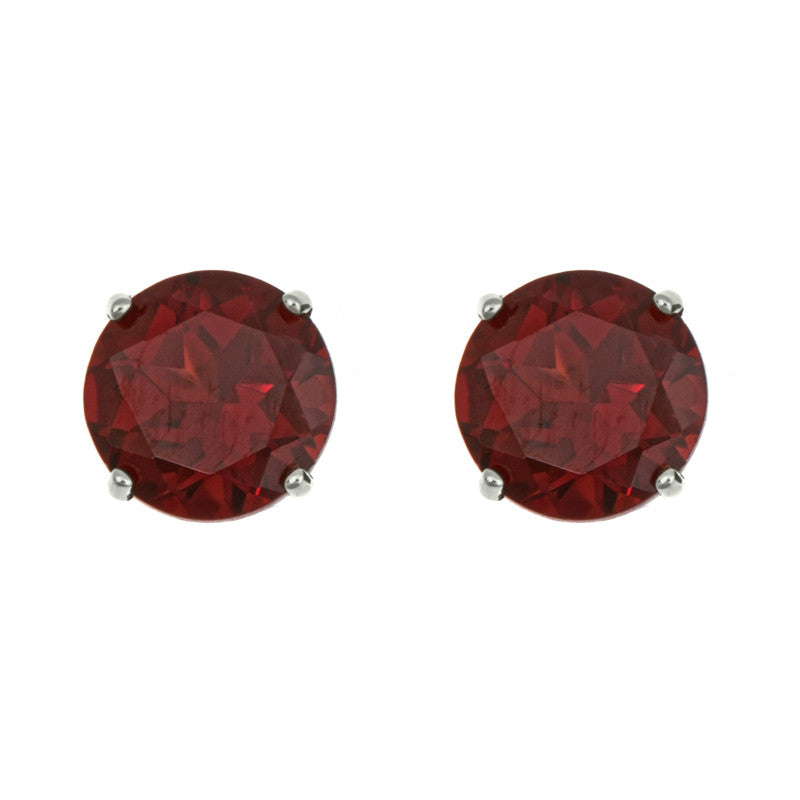 soEnvy Sterling Silver Stud Earrings Garnet