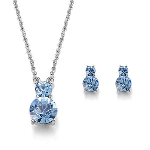 soEnvy Blue Orbit Crystal Necklace & Earrings Set