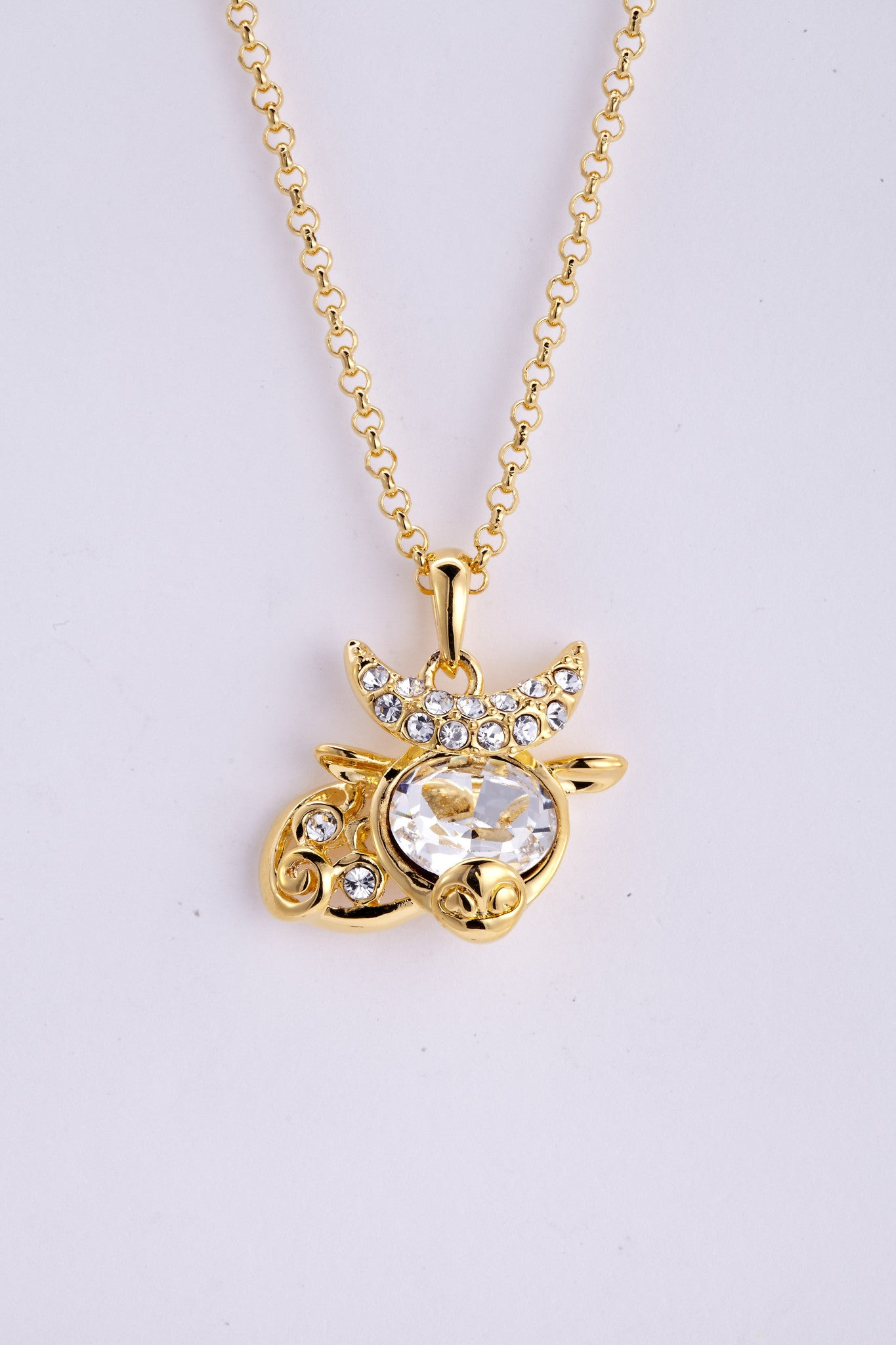 soEnvy Chinese Zodiac Crystal Necklace Collection Ox