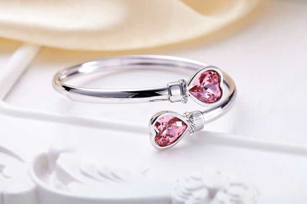 soEnvy Open Heart Crystal Bangle Silver