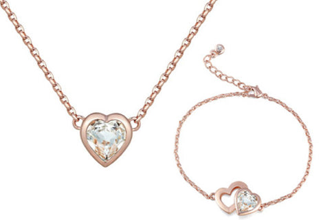 soEnvy Twin Heart Crystal Necklace & Bracelet Set Rose Gold