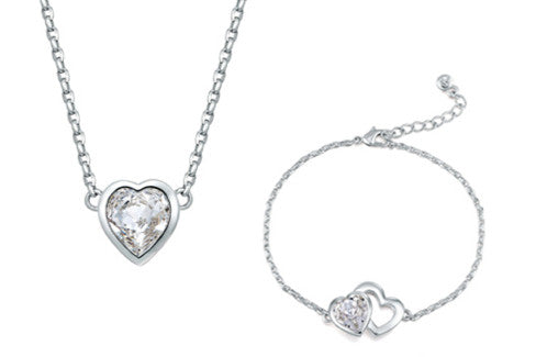 soEnvy Twin Heart Crystal Necklace & Bracelet Set Silver