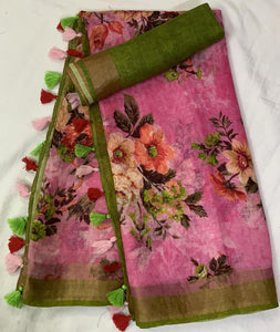 Stylish Pink Color Flower Printed Design Heavy Linen Cotton Saree(1008)