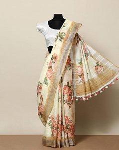 Attractive Beige Color Flower Printed Design Heavy Linen Cotton Saree(11051) - Bollywood Replica Saree