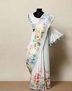 Wonderfull White Color Flower Printed Design Heavy Linen Cotton Saree - Bollywood Replica Saree