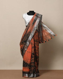 Wonderfull Brown  Color Printed Designe Heavy Linen Cotton Saree - Bollywood Replica Saree