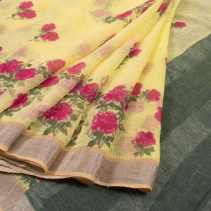 Yellow Color Flower Printed Design Heavy Linen Cotton Saree - Bollywood Replica Saree